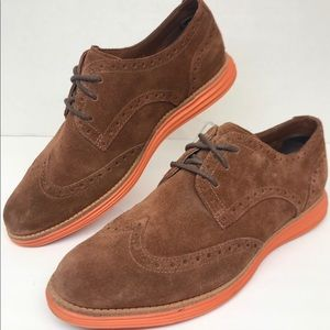Cole Haan Lunargrand Suede Wingtip Shoes Sz 7.5 B